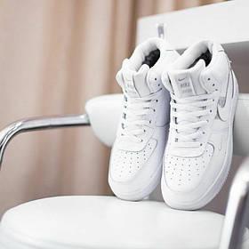 Кроссовки Мужские Nike Air  force  fur с мехом/Кожа, білі кросівки/ Шкіряні кросівки, 41-45