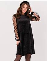 Черное велюровое платье с прозрачными рукавами