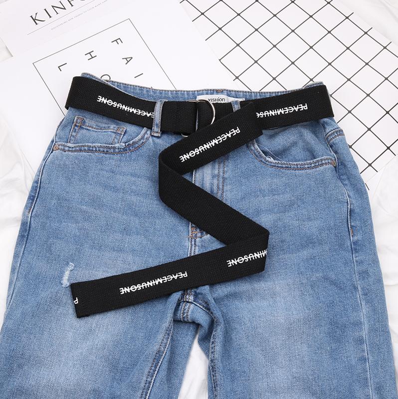 Длинный пояс женский тканевый ремень с надписью принтом ретро винтажный в стиле 90-х