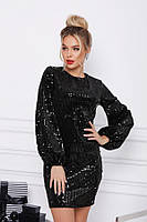 Черное велюровое платье с пайетками