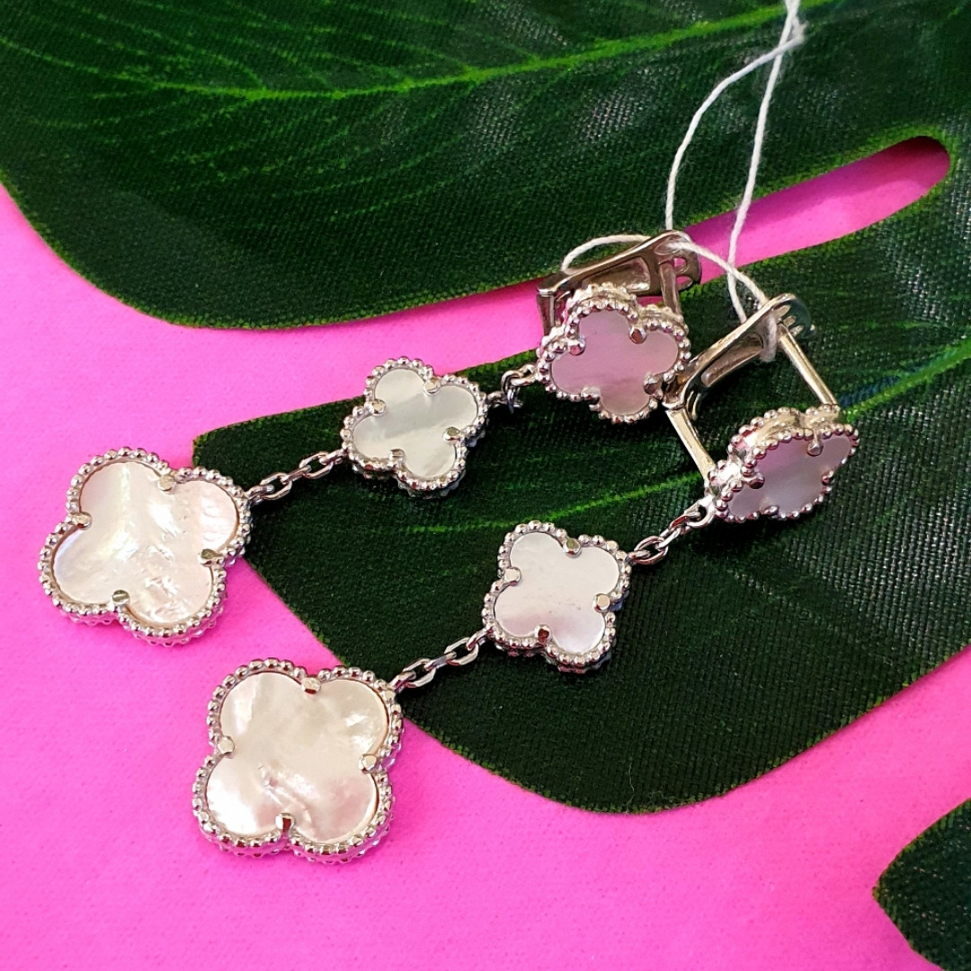 Срібні сережки Конюшина з перламутром - Потрійні сережки конюшина срібло 925