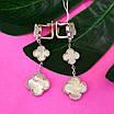 Срібні сережки Конюшина з перламутром - Потрійні сережки конюшина срібло 925, фото 2