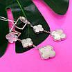Срібні сережки Конюшина з перламутром - Потрійні сережки конюшина срібло 925, фото 3