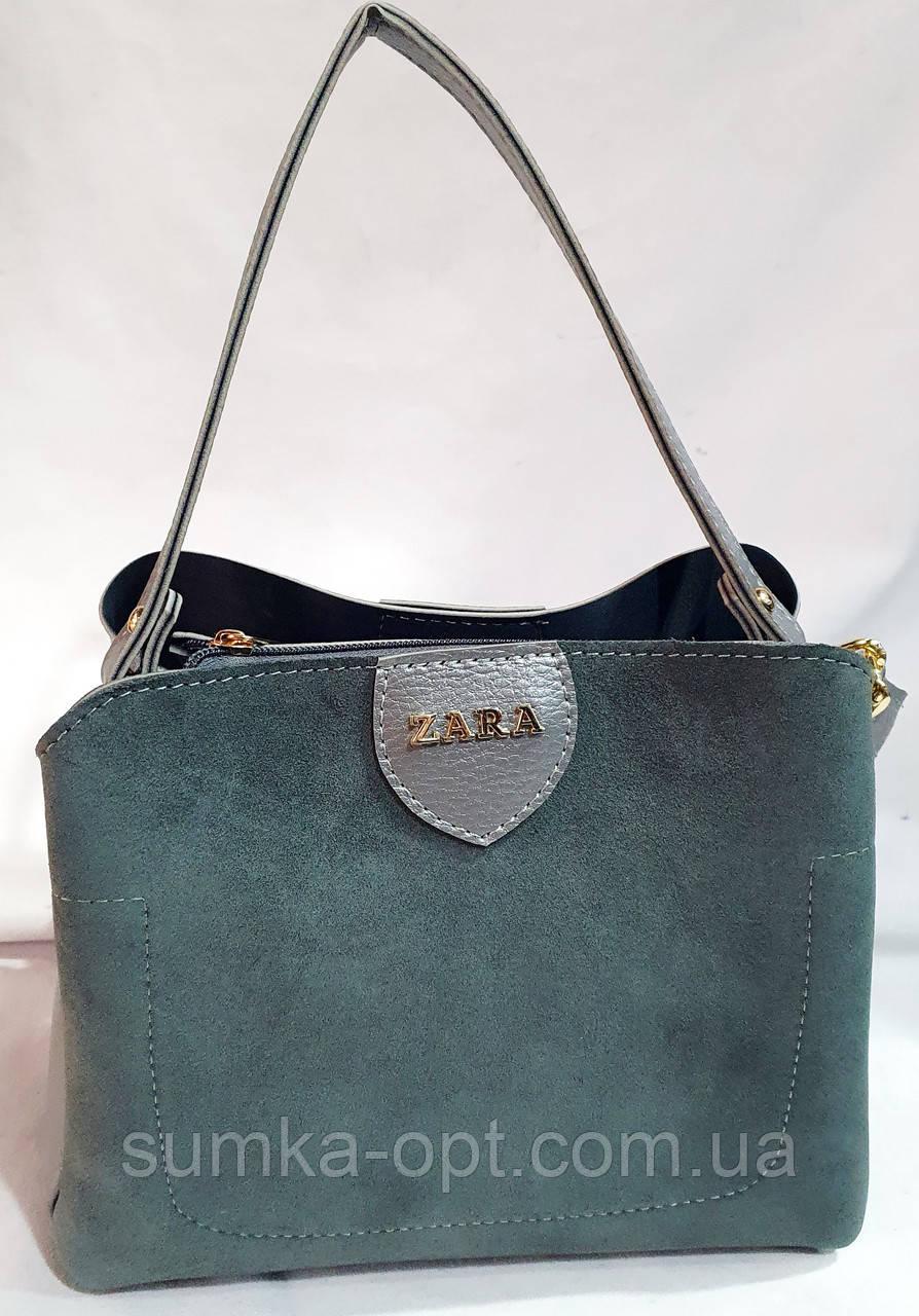 Брендовая женская сумка Zara с боковыми карманами, серая с золотой фурнитурой 24*20 см (натуральная замша)