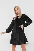 Велюровое черное платье-трапеция с блестками