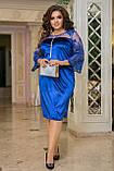 Нарядное платье женское Турецкий велюр и вышивка на сетке Размер 50 52 54 56 58 60 62 64 Разные цвета, фото 2