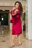 Нарядное платье женское Турецкий велюр и вышивка на сетке Размер 50 52 54 56 58 60 62 64 Разные цвета, фото 6