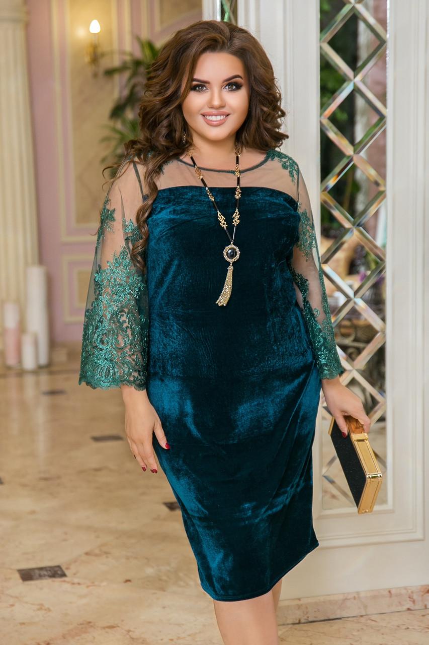 Нарядное платье женское Турецкий велюр и вышивка на сетке Размер 50 52 54 56 58 60 62 64 Разные цвета