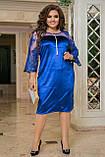 Нарядное платье женское Турецкий велюр и вышивка на сетке Размер 50 52 54 56 58 60 62 64 Разные цвета, фото 7