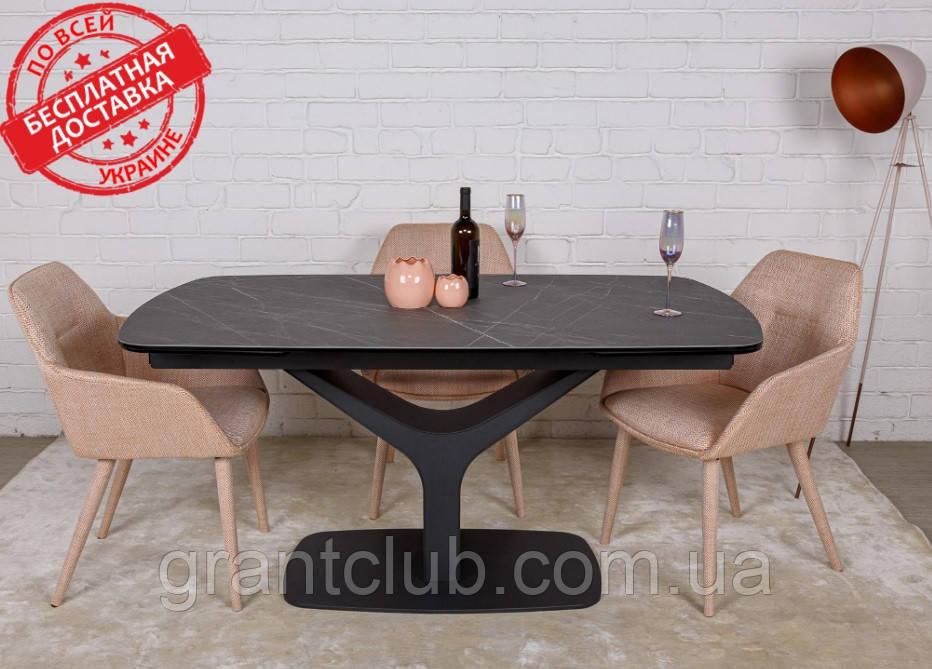 Стол обеденный VULCAN oval керамика серый антрацит 160/240*90 Nicolas (бесплатная доставка)