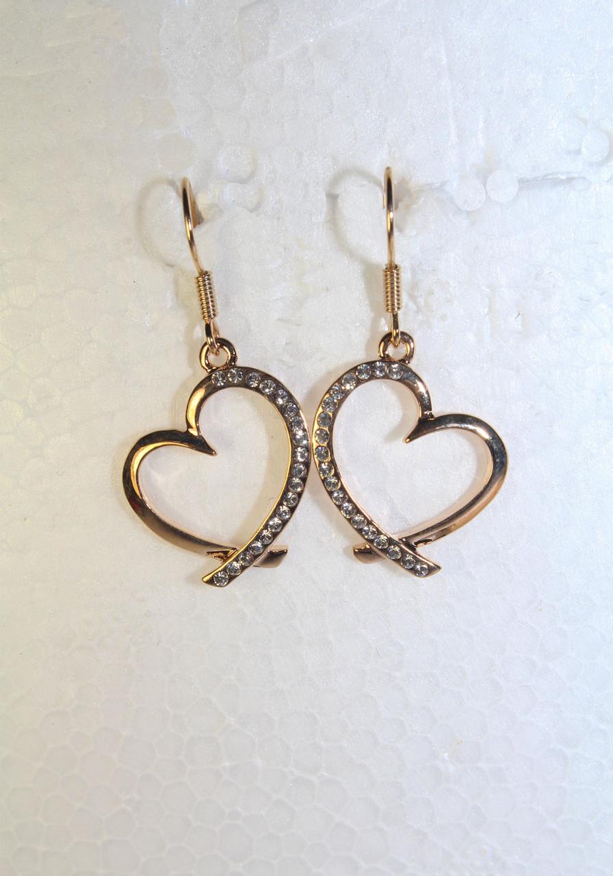 Серьги из золотистого металла со стразами сердца