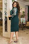 Красивое платье женское Турецкий креп дайвинг и гипюр Размер 50 52 54 56 58 60 62 64 Разные цвета, фото 3
