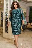 Красивое платье женское Турецкий креп дайвинг и гипюр Размер 50 52 54 56 58 60 62 64 Разные цвета, фото 8