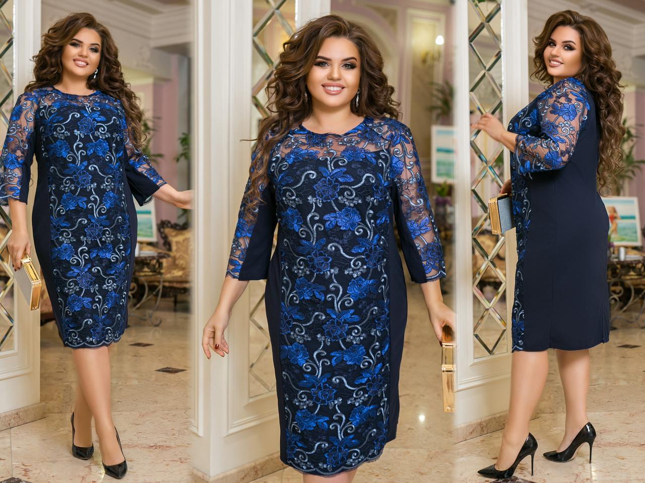 Красивое платье женское Турецкий креп дайвинг и гипюр Размер 50 52 54 56 58 60 62 64 Разные цвета