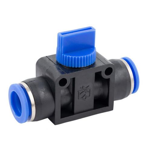 Соединение цанговое для полиуретановых шлангов PU/PR с регулировкой подачи воздуха (прямое, шланг) 10мм