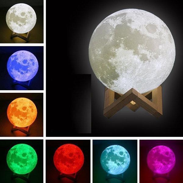 3D светильник-ночник Луна от сети (5 цветов)