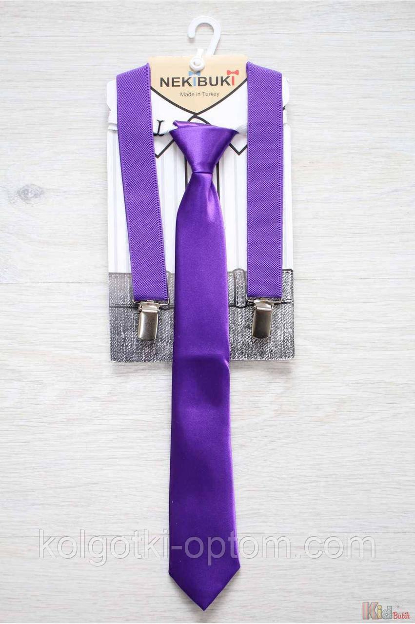 ОПТОМ Подтяжки с галстуком фиолетового цвета Nekibuki 2125000661902