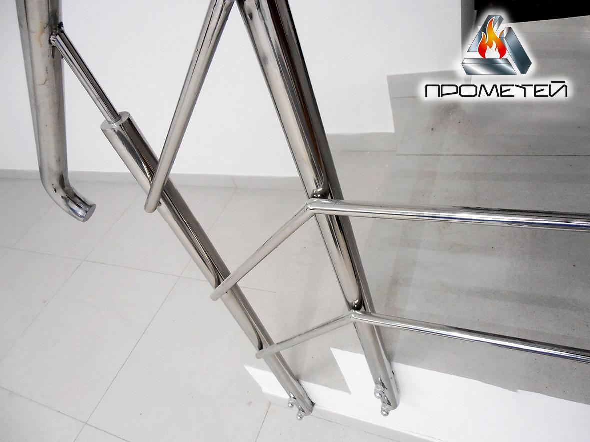 Перила/огородження з нержавіючої сталі AISI 304, поручень Ø50 мм, стійка Ø42 мм, 3 рігеля Ø16 мм