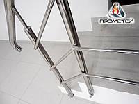 Перила/ограждения для входных дверей AISI 304, поручень Ø50 мм, стойка Ø42 мм, 3 ригеля Ø16 мм