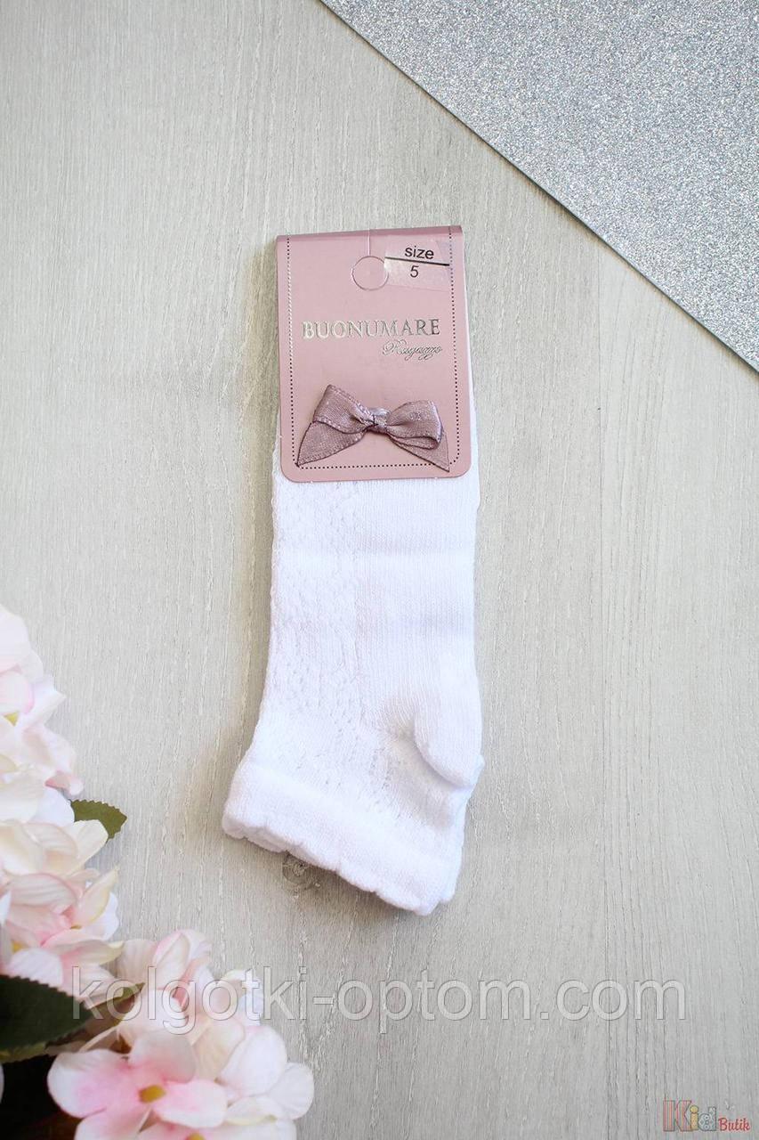 ОПТОМ Носки белые с ажурными косичками для девочки 13-14 лет (22-24(35-38) см.)  Buonumare 8681071655867