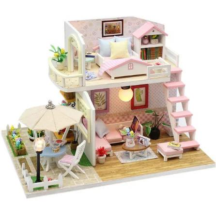 Подарок девочке DIY miniature House интерьерный 3D-конструктор РУМБОКС Pink Loft + LED подсветка
