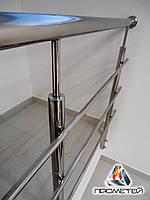 Перила металл для лестниц и крыльца внутри помещений AISI 304, поручень Ø50 мм, стойка Ø42 мм, 3 ригеля Ø16 мм