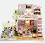 Подарок девочке DIY miniature House интерьерный 3D-конструктор РУМБОКС Pink Loft + LED подсветка, фото 3