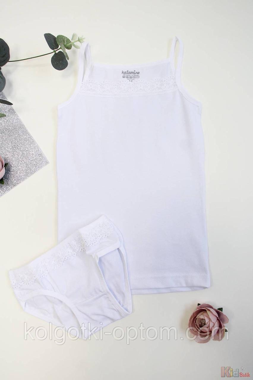 ОПТОМ Комплект майка+трусики белые для девочки 11-12 лет (11-12 лет)  Katamino 8680652398094