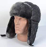 Мужская шапка-ушанка из плащевки - НАЙК - Искусвенный мех Мутона (код 29-303)