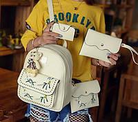 Детский комплект рюкзак сумочка клатч кошелек визитница 4 в 1. Рюкзачок сумка детская набор