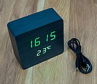 Настільний електронний годинник з термометром VST-872-чорний, світлодіодні годинник та термометр на батарейках, фото 1