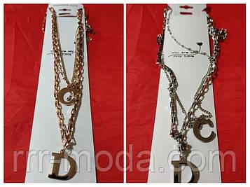 Эксклюзивная ювелирная цепь жгут 40 + 5 см. Позолоченные украшения оптом недорого. 30