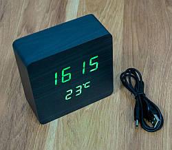 Настільний електронний годинник з термометром VST-872-чорний, світлодіодні годинник та термометр на батарейках