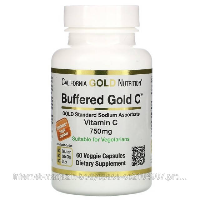 California Gold Nutrition, Витамины Buffered Vitamin C Capsules 750 mg, 60 капсул