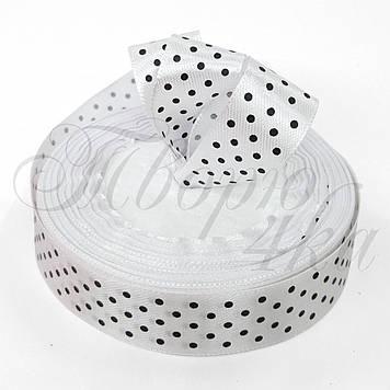 Лента атласная с рисунком в горошек белая 20 мм