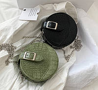Маленькая детская сумочка круглой формы. Мини сумка для девочки круглая на цепочке, сумочка-клатч эко кожа