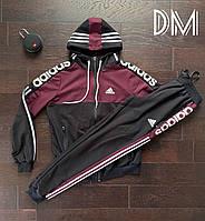 Мужской спортивный костюм Адидас бордовый, качественные мужские спортивные штаны Adidas реплика