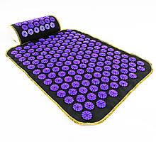 Набір килимок акупунктурний масажний + подушка Аплікатор Кузнєцова OSPORT (n-0002) Чорно-фіолетовий