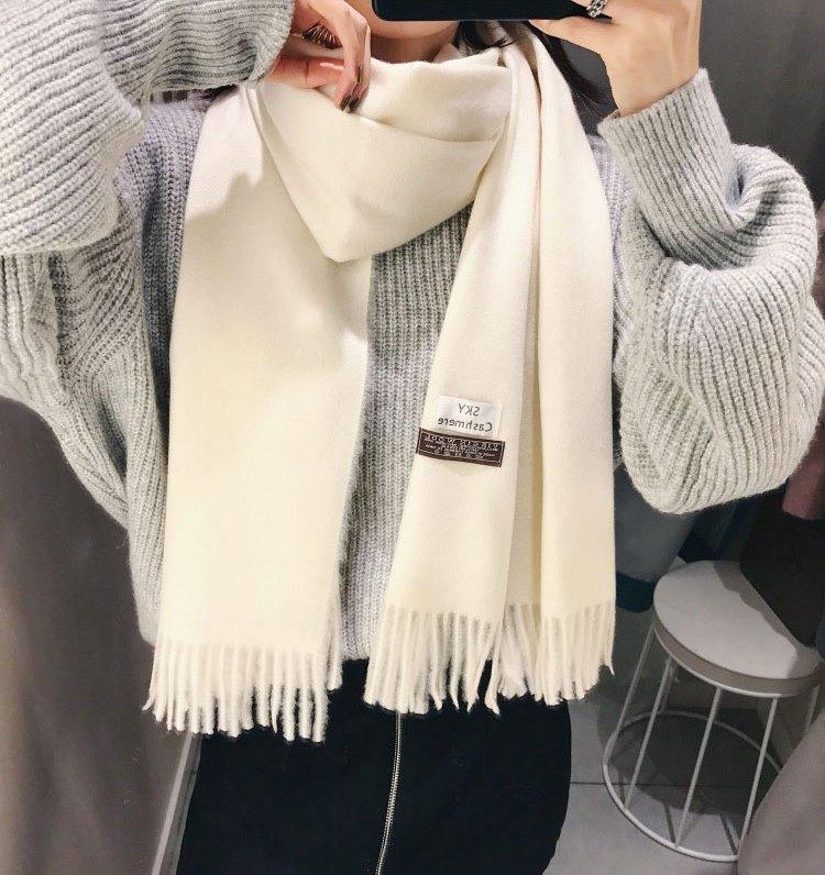 Кашемировый шарф шерстяной объемный платок шаль палантин длинный широкий белый