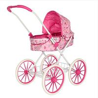 Коляска для кукол детская 8826 BN большие колеса розовый цвет корзина