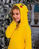 Кигуруми пикачу для мальчиков и девочек, взрослых и детей желтая пижама, пижамы кигуруми для девушек, парней