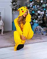 Кигуруми детская пикачу для мальчиков и девочек, детей пижама, пижамы кигуруми желтая