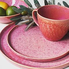 Керамічний посуд тарілка рожева професійна з розлученнями для кафе і вдома 21 см