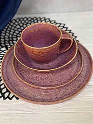 Керамічна тарілка рожева професійний посуд з розлученнями для кафе ресторанів і вдома 27 см