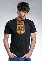 Летняя мужская вышитая футболка черного цвета «Гладь (золотистый орнамент)»
