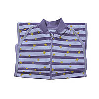 Безразмерная пеленка кокон на молнии интерлок Luna Style Звезды 0-24 мес серый