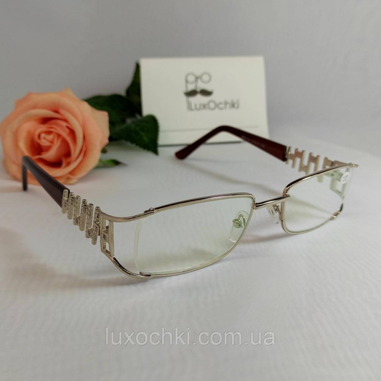 +1.5 Готовые диоптрические женские очки +1.5 в металлической оправе