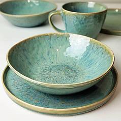 Керамічний блакитний салатник посуд модерн для кафе ресторанів і вдома 17,5х5 см