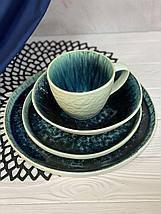 Керамічна тарілка синього кольору посуд з плямами для кафе ресторанів і вдома 21 см