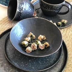 Чорні салатник керамічний матовий професійний посуд для кафе ресторанів і вдома 17,5х5 см